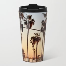 Huntington Beach Summer Sunset at the pier Travel Mug