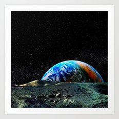 Earth seen from the moon  Art Print