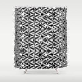 Op art hexagonal waves Shower Curtain