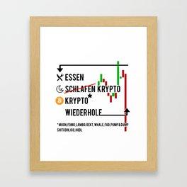 Essen, Schlafen, Krypto, Deutsch Framed Art Print