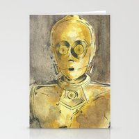 c3po Stationery Cards featuring C3PO by Johannes Vick