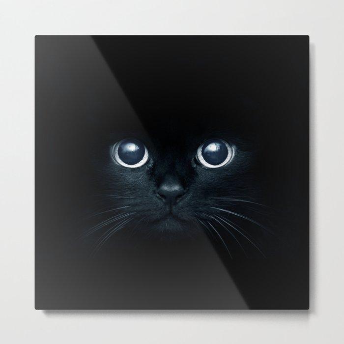 Black Cat in The Dark Metal Print