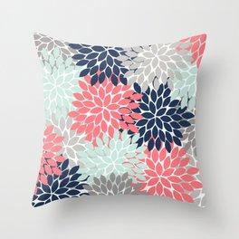 Flower Burst Petals Floral Pattern Navy Coral Mint Gray Throw Pillow