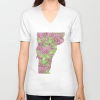 vermont V-neck T-shirts featuring Vermont in Flowers by Ursula Rodgers