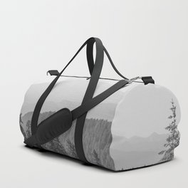 Lookout Ridge - Black and White Mountain Nature Photography Duffle Bag