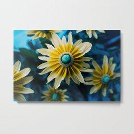 Yellow blue flower Metal Print