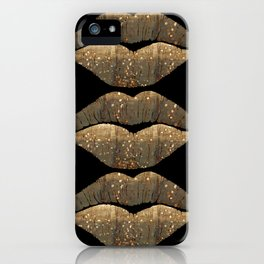 Golden Motes Kissing Lips iPhone Case