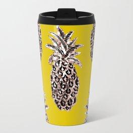Gold Pineapples on mustard Travel Mug