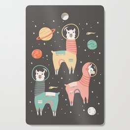 Astronaut Llamas in Space Cutting Board