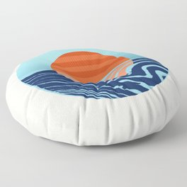 Sweetness - retro minimal 70s style throwback sunset sunrise ocean socal art Floor Pillow