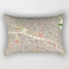 Paris, France City Map Vintage Poster, Eiffel Tower, Notre-Dame, Champs-Elysees, Arc de Triomphe, Latin Quarter Rectangular Pillow