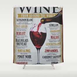 Vintage Wines from around the world Wine Advertisement Wall Art Shower Curtain