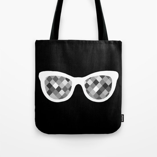 Diamond Eyes White on Black Tote Bag