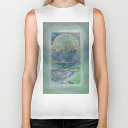 Misty Morning Meditation Biker Tank