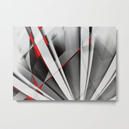 Red Gray Abstractum Metal Print