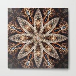 Pecan Mandala Metal Print
