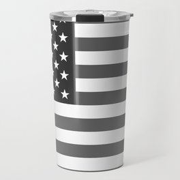 Black and White US Flag, High Quality Image Travel Mug