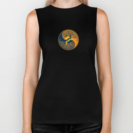 Blue and Yellow Tree of Life Yin Yang Biker Tank
