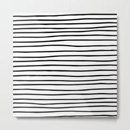 Modern simple trendy black white striped pattern Metal Print