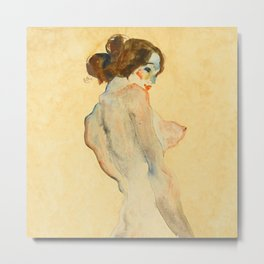 """Egon Schiele """"Standing Nude with White Drapery"""" Metal Print"""