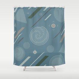 Blueprint Geometric Pattern 3 Shower Curtain