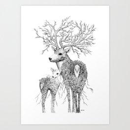 Leaf Stag and Deer Art Print
