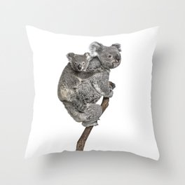 Mother Koala and her Baby Throw Pillow