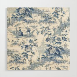 Powder Blue Chinoiserie Toile Wood Wall Art