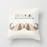 moustache Throw Pillows featuring moustache by Manoou