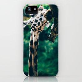 Green Portrait Of A Giraffe iPhone Case