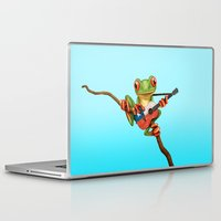 chile Laptop & iPad Skins featuring Tree Frog Playing Acoustic Guitar with Flag of Chile by Jeff Bartels