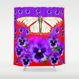 RED-WHITE BUTTERFLY PURPLE PANSIES MODERN ART Shower Curtain