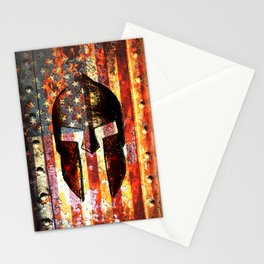 American Flag And Spartan Helmet On Rusted Metal Door - Molon Labe Stationery Cards
