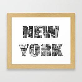 New York  B&W typography Framed Art Print