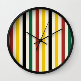 Rustic Lodge Stripes Black Yellow Red Green Wall Clock
