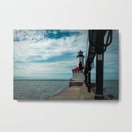 Michigan City East Pierhead Lighthouse and Catwalk Lake Michigan Light Station Metal Print