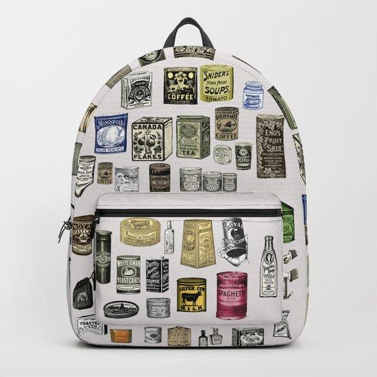 Vintage Victorian food cans Backpack