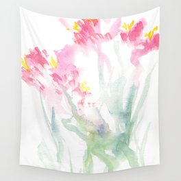 Pink Watercolor Flowers Wall Tapestry