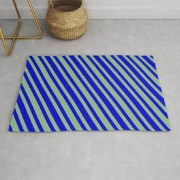 Dark Sea Green & Blue Colored Stripes Pattern Rug