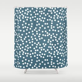 Desaturated Green and White Polka Dot Pattern Shower Curtain