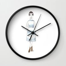 girl in a dress Wall Clock