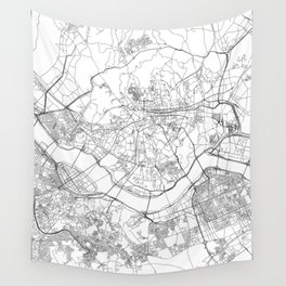 Seoul White Map Wall Tapestry