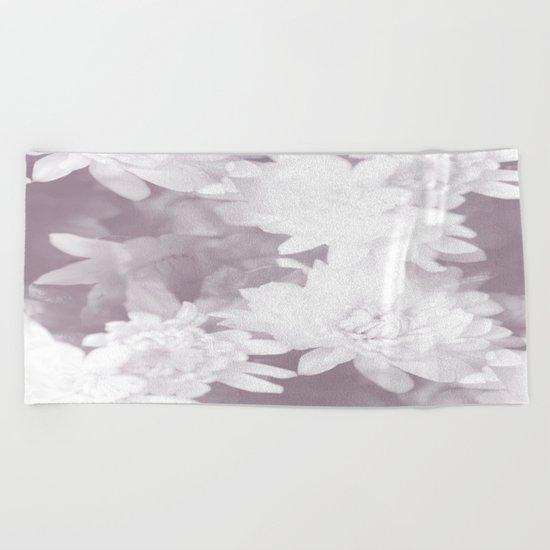 Elegant beauty - white flowers on purple background Beach Towel