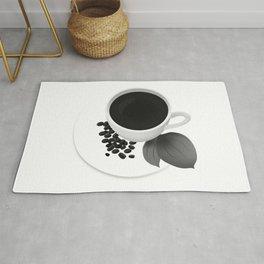 Coffee Cup - Black & White Rug
