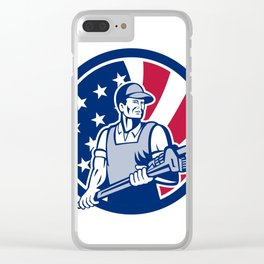 American Plumber and Pipefitter USA Flag Icon Clear iPhone Case