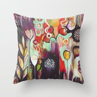 "flora bowley Throw Pillows featuring ""Release Become"" Original Painting by Flora Bowley by Flora Bowley"