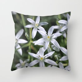 Macro photo of a white flower Throw Pillow