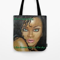 rihanna Tote Bags featuring Rihanna by Lauri Loewenberg