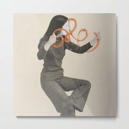 Mimes Make Art Series: Mime with orangey swirly brushstroke. Metal Print