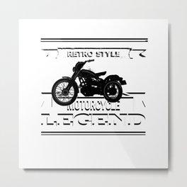 Motorcycle retro legend tshirt logo Metal Print